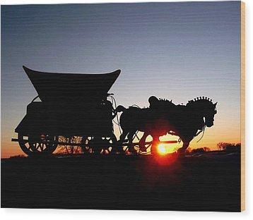Riding Into The Sunset Wood Print by Larry Trupp