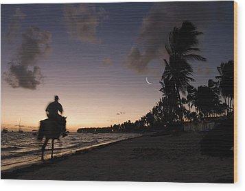 Riding On The Beach Wood Print by Adam Romanowicz