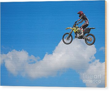 Riding The Clouds Wood Print