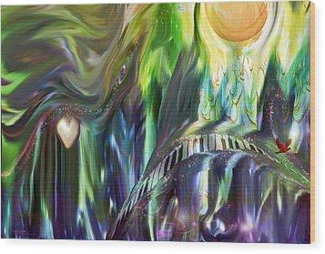 Riding The Wave Wood Print by Linda Sannuti