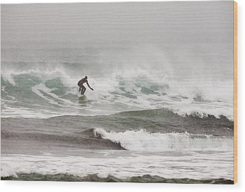 Riding The Waves In A Snow Storm Wood Print by Tim Grams