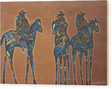 Riding Three Wood Print by Lance Headlee
