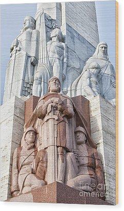 Riga Freedom Monument 02 Wood Print by Antony McAulay