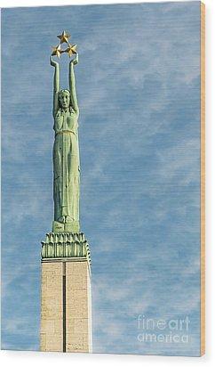 Riga Freedom Monument Wood Print by Antony McAulay