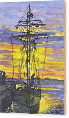 Rigging In The Sunset Wood Print by Carol Wisniewski
