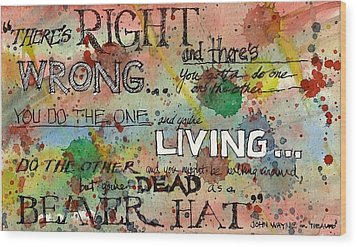 Wood Print featuring the mixed media Right And Wrong by Tim Oliver