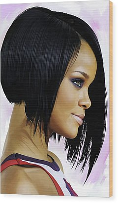 Rihanna Artwork Wood Print by Sheraz A