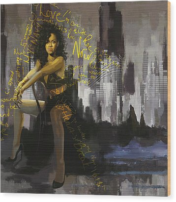 Rihanna Wood Print by Corporate Art Task Force