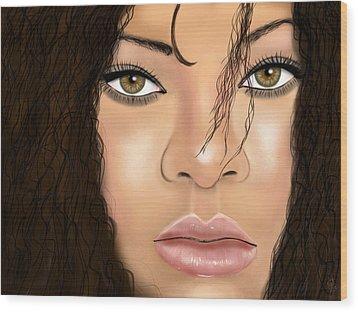 Rihanna Wood Print by Mathieu Lalonde
