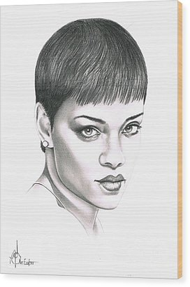 Rihanna Wood Print by Murphy Elliott