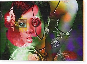 Rihanna Over Rihanna Wood Print by Marvin Blaine
