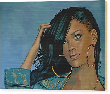 Rihanna Painting Wood Print by Paul Meijering