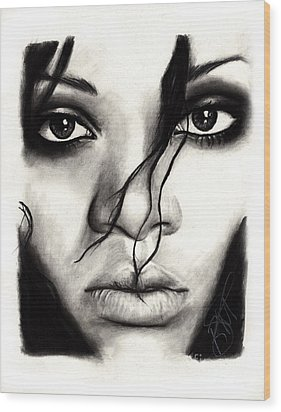 Rihanna Wood Print by Rosalinda Markle