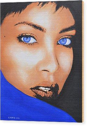 Rihanna Wood Print by Victor Minca