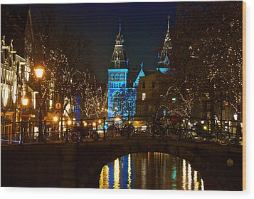 Rijksmuseum At Night Wood Print