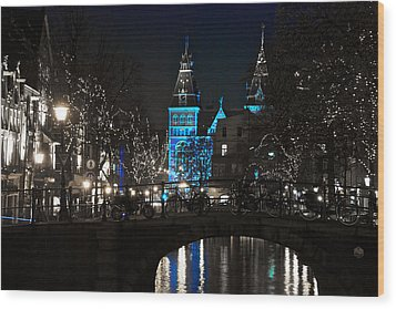 Rijksmuseum In Blue Wood Print