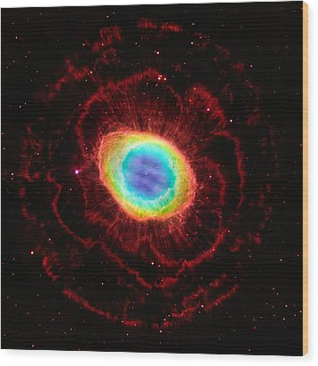 Ring Nebula's True Shape Wood Print by Marco Oliveira