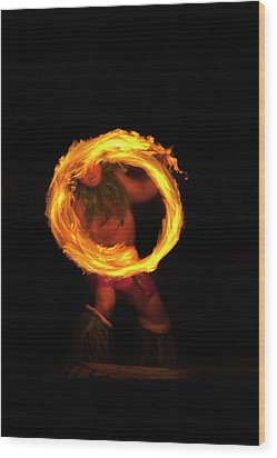 Ring Of Fire Wood Print by Mike  Dawson
