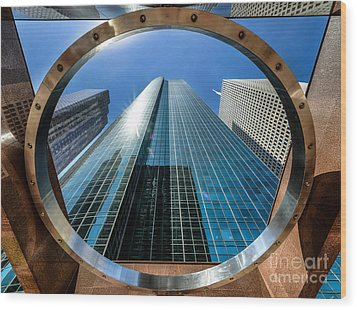 Ring Of Trust - Wells Fargo Plaza Wood Print by Dee Zunker