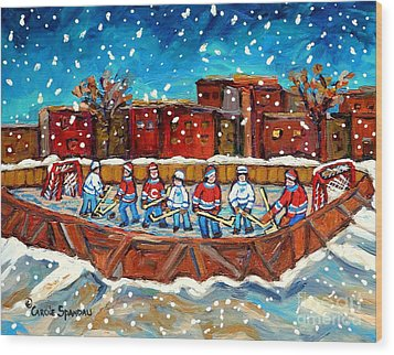 Rink Hockey Game Little Montreal Superstars Montreal Memories Snowy City Scene Carole Spandau Wood Print by Carole Spandau