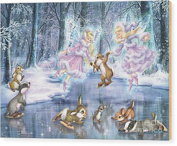 Rink In The Forest Wood Print by Zorina Baldescu