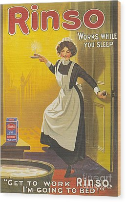 Rinso 1910s Uk Washing Powder Maids Wood Print by The Advertising Archives
