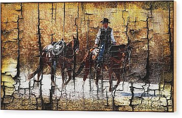 Rio Cowboy With Horses  Wood Print by Barbara Chichester
