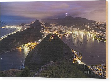 Rio Evening Cityscape Panorama Wood Print by Mike Reid