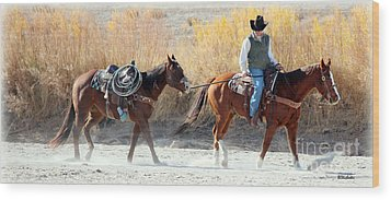 Rio Grande Cowboy Wood Print by Barbara Chichester