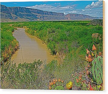 Rio Grande East Of Santa Elena Canyon In  Big Bend National Park-texas Wood Print by Ruth Hager