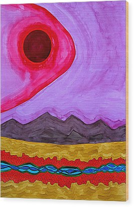 Rio Grande Gorge Original Painting Wood Print by Sol Luckman