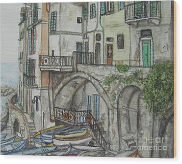 Wood Print featuring the painting Riomaggoire Cinque Terre Italy by Malinda  Prudhomme