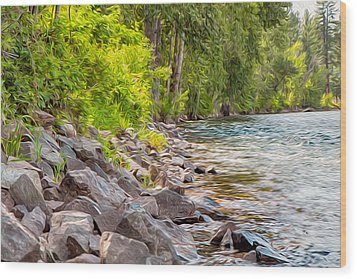 Rip Rap On The Methow River Wood Print by Omaste Witkowski