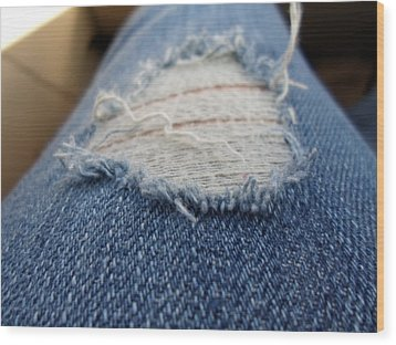 Ripped Jeans Wood Print by Jenna Mengersen