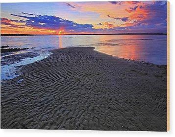 Rippled Sunset Wood Print by Paul Svensen