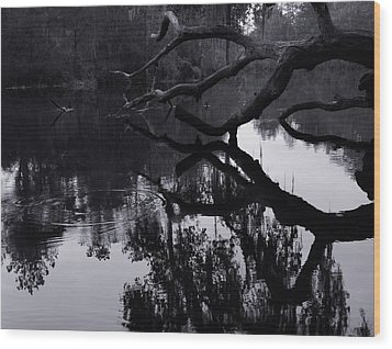 Ripples Of Black And White Wood Print by Warren Thompson