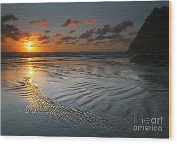 Ripples On The Beach Wood Print by Mike  Dawson