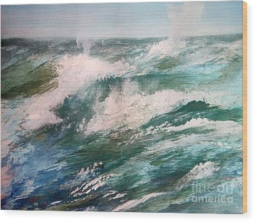 Rising Spume Wood Print by Trilby Cole