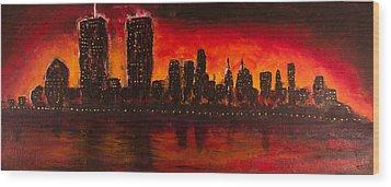 Rising Sun At Nyc Wood Print by Coqle Aragrev