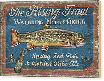 Rising Trout Sign Wood Print by JQ Licensing