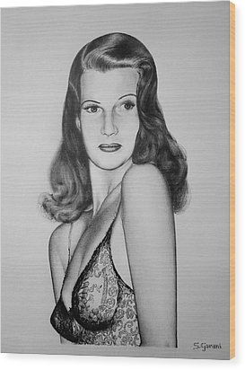 Rita Hayworth Wood Print by Geni Gorani