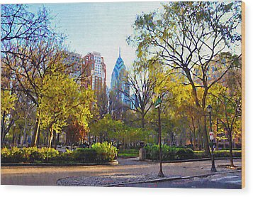 Rittenhouse Square In The Spring Wood Print by Bill Cannon