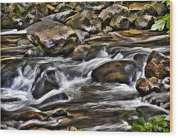 River And Rocks Wood Print