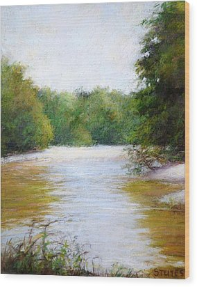 River And Trees Wood Print by Nancy Stutes