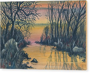 River At Sunset Wood Print by Terry Banderas