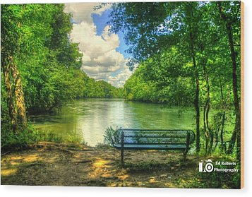 River Bench Wood Print