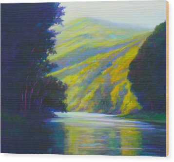 River Bend Wood Print by Ed Chesnovitch