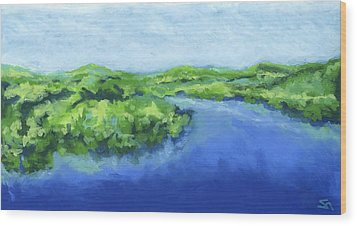 Wood Print featuring the painting River Bend by Stephen Anderson
