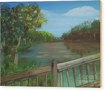 Wood Print featuring the painting River Deck by Brigitte Emme