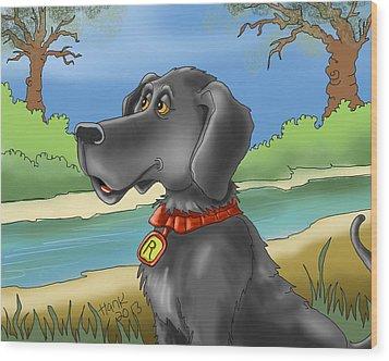 River Dog Wood Print by Hank Nunes